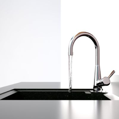 Water,Flows,From,The,Kitchen,Tap,To,Sink